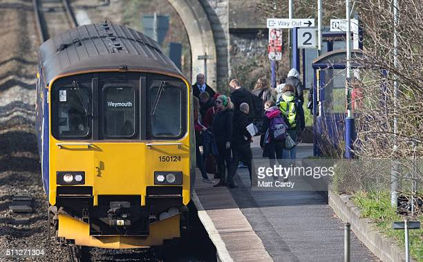 Weymouth bound train stops at Oldfield Park station as it approaches Bath Spa station on the Great Western railway line on February 19 2016 in Bath...