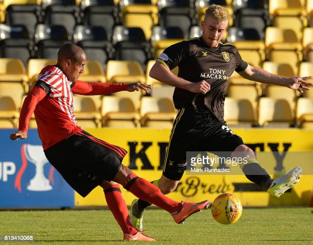 Whabi Khazri of Sunderland scores the opening goal of the game in the first half during the pre season friendly between Livingston and Sunderland at...