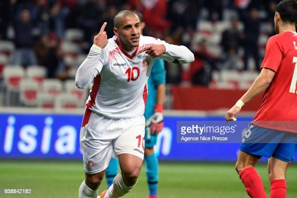 Whabi Khazri of Tunisia celebrates after scoring during the International friendly match between Tunisia and Costa Rica at Allianz Riviera Stadium on...