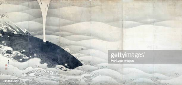 Whale Folding screen 1797 Found in the collection of Miho Museum Koka