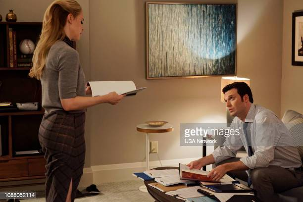 SUITS 'Whale Hunt' Episode 812 Pictured Amanda Schull as Katrina Bennett Jake Epstein as Brian