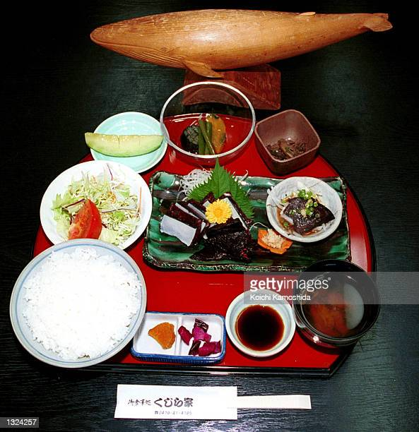 A whale meat dish is displayed at a specialty store July 10 2001 in Japan The whale hungting period lasts from July to early August