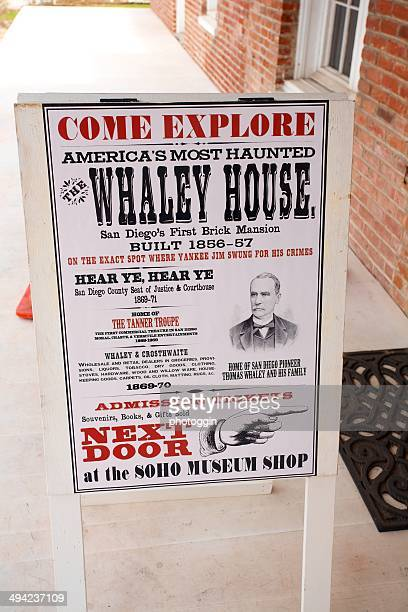 whaley house entrance sign - old town san diego stock pictures, royalty-free photos & images