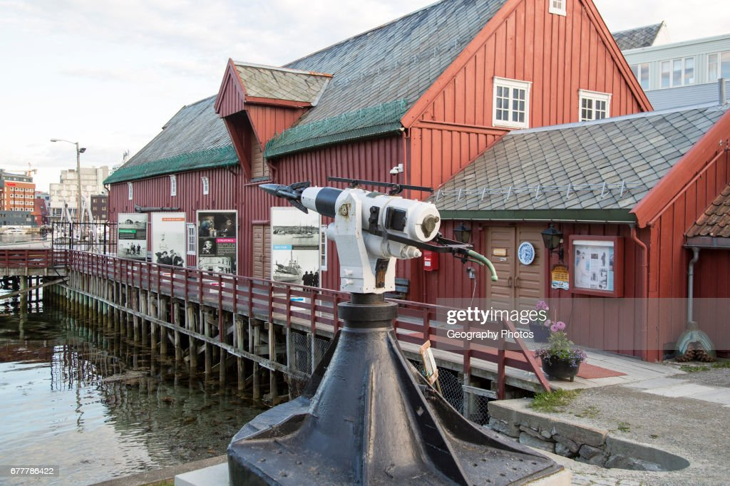 Whaling harpoon outside the Polar Museum, Tromso, Norway : News Photo
