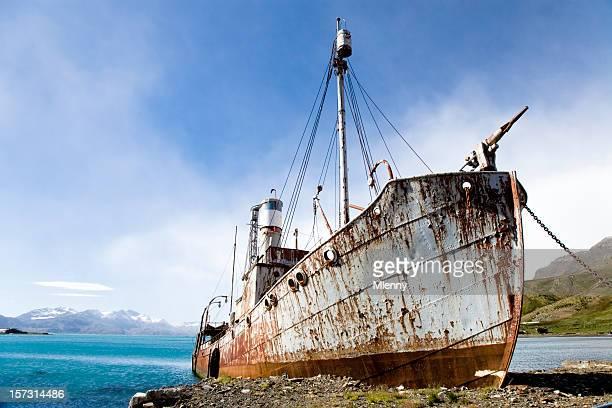 whaling ship - zuid georgia eiland stockfoto's en -beelden