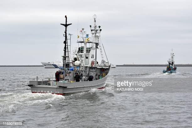 Whaling ships depart from a port in Kushiro Hokkaido Prefecture on July 1 2019 Whaling ships set sail on July 1 from Japan as the country resumed...
