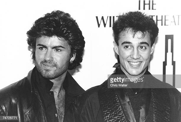 Wham 1985 George Michael and Andrew Ridgely at the Music File Photos 1980's in Los Angeles California