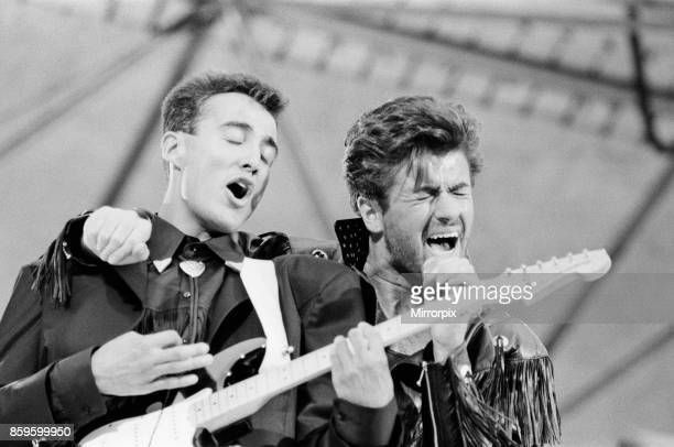 Wham The Farewell Concert at Wembley Stadium London on 28th June 1986 George Michael's real name is Georgios Kyriacos Panayiotou Wham played their...