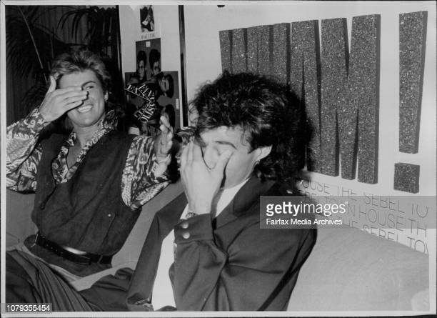 WhamPress ConferenceAt Sebel Town HouseDynamic UK Pop music Phenomenon Andrew Ridgeley and George Michael shielding their eyes under the glane at the...