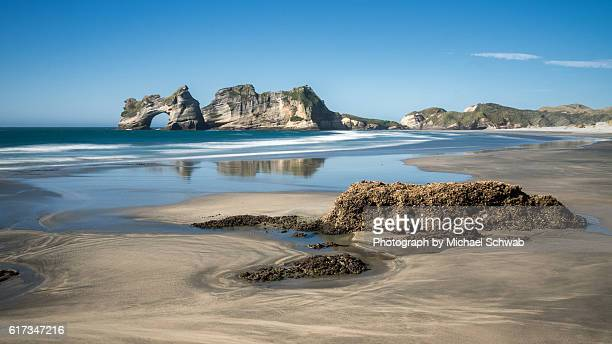 Wharariki Beach and Archway Islands, New Zealand