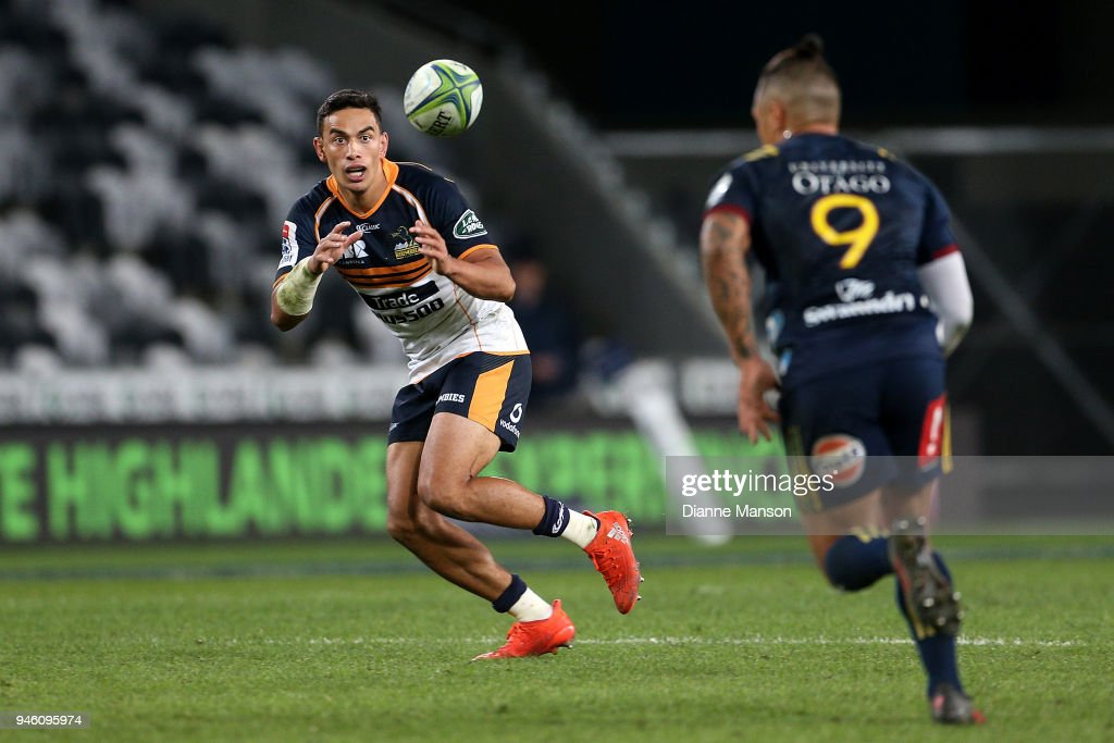 Wharenui Hawera of the Brumbies receives the ball during the round nine Super Rugby match between the Highlanders and the Brumbies at Forsyth Barr Stadium on April 14, 2018 in Dunedin, New Zealand.