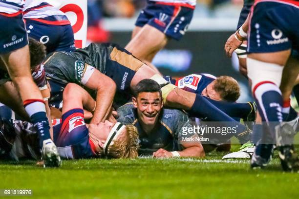 Wharenui Hawera of the Brumbies scores a try during the round 15 Super Rugby match between the Brumbies and the Rebels at GIO Stadium on June 3 2017...