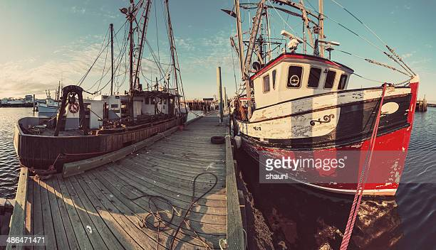 wharf panoramic - lobster fishing stock photos and pictures