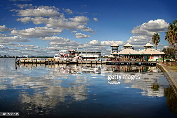 Wharf with restaurants and cafes South Bank Swan River Perth Western Australia