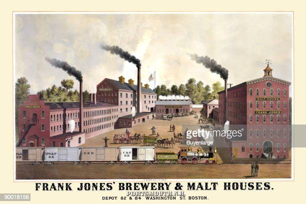 What a fantastic late 19thcentury advertising poster for Frank Jones' Brewery Malt Houses Portsmouth New Hampshire For decades Frank Jones was New...