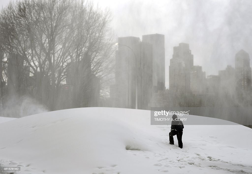 What appears to be a huge snowstorm in Central Park in New York on January 14, 2015, is actually workers making artificial snow in preparation for the annual Winter Jam. The Winter Jam, to be held January 24, 2015 is the ultimate snow day, a free winter sports festival for New Yorkers of all ages, where you can go skiing, snowshoeing, shop in a winter market, and sledding in fresh snow, right in the heart of New York City.