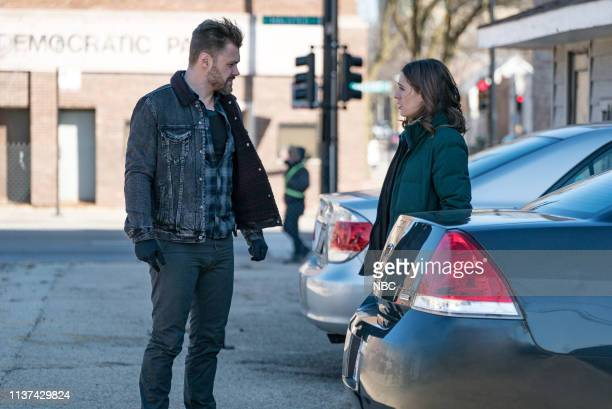 """What Could Have Been"""" Episode 619 -- Pictured: Patrick John Flueger as Adam Ruzek, Marina Squerciati as Kim Burgess --"""