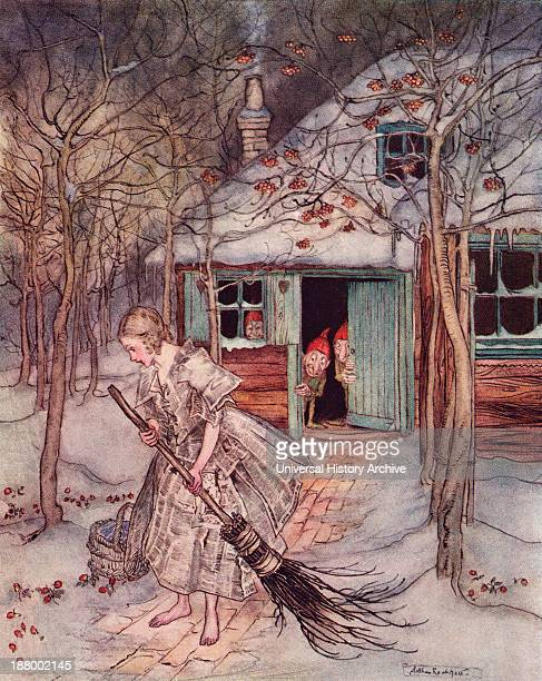 What Did She Find There But Real Ripe Strawberries Illustration By Arthur Rackham From Grimm's Fairy Tale The Three Little Men In The Wood Published...