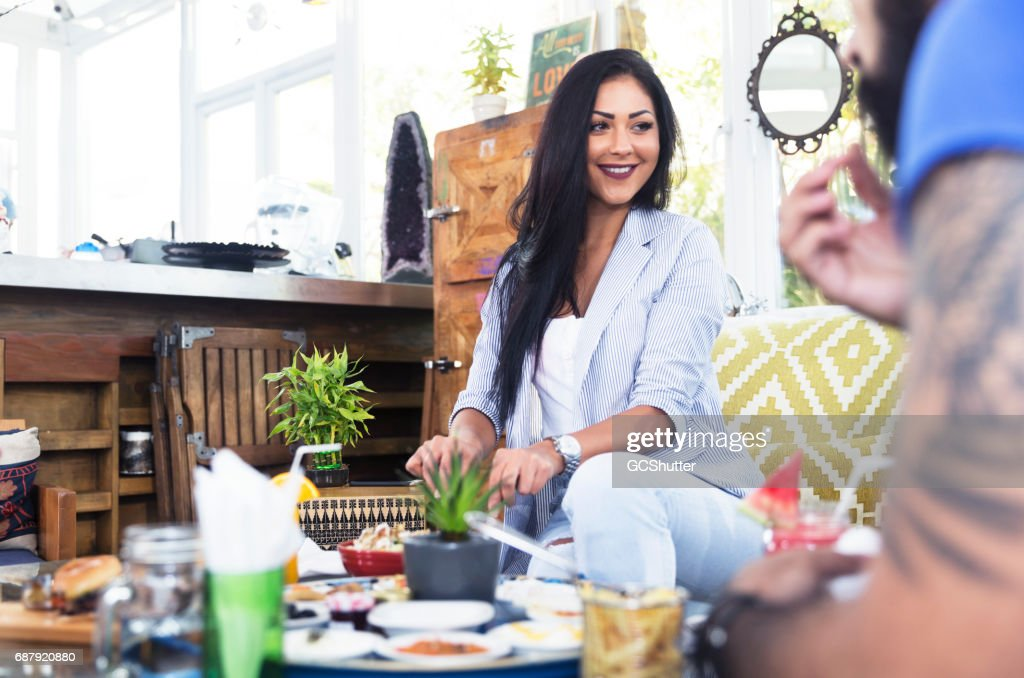 What do you think of my new cafe's food? : Stock Photo