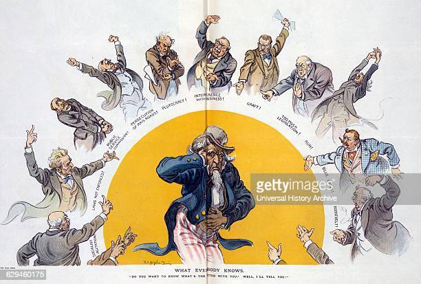 What everybody knows by Udo Keppler Photomechanical print offset colour illustration of an ailing Uncle Sam holding his head and his stomach standing...