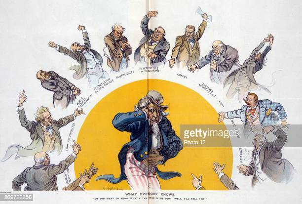 What everybody knows Illustration shows an ailing Uncle Sam holding his head and his stomach standing in the middle of a halfcircle with a series of...