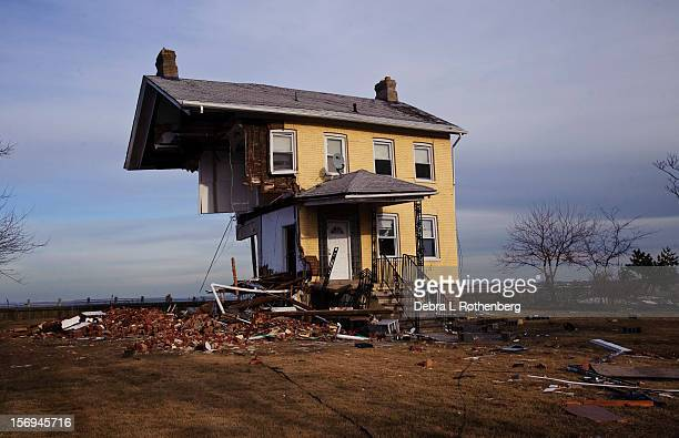 What is left of a house at 705 Front Street on November 16 2012 in Union Beach New Jersey Hurricane Sandy devastated this small waterfront town on...