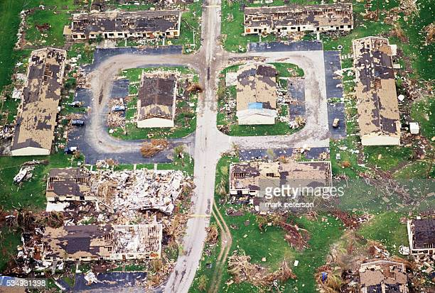 What is left of one neighborhood after Hurricane Andrew riped through the area | Location South Dade City Florida USA
