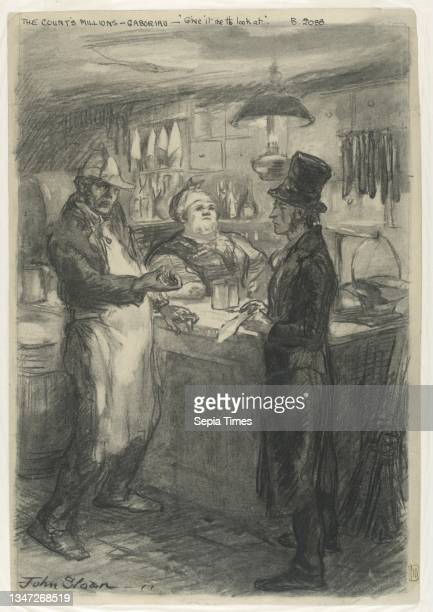 'What is this bill? Give it me to look at.', John French Sloan, American, 1871 – 1951, Charcoal, brush and gray wash on wove paper, A male figure in...