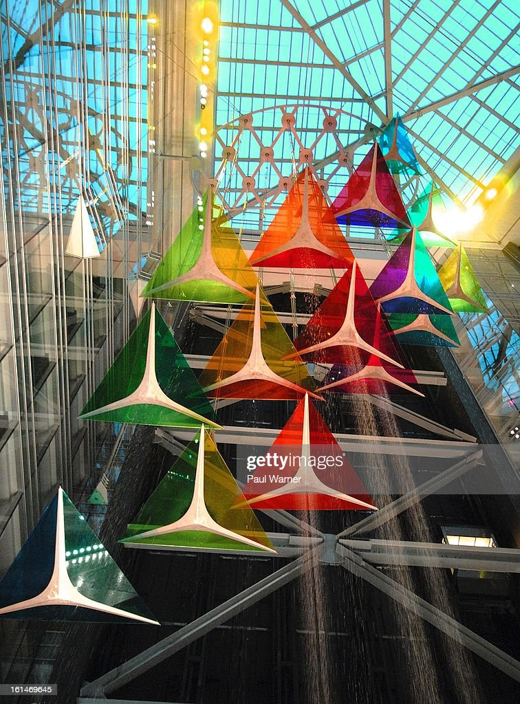 What is touted as the largest indoor waterfall in the world is seen in the Compuware Building at Motown Winter Blast at Campus Martius Park on February 10, 2013 in Detroit, Michigan.