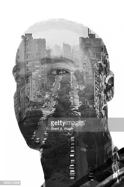 What lies Double exposure portrait