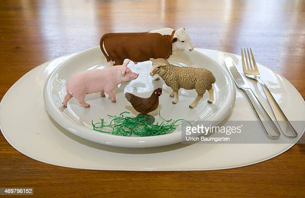 What we eat Symbol photo on the topics of healthy living Our picture shows a cow a pig a scheep and a chicken with plate and cutlery
