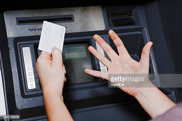 whatever the atm says, she isn't happy! - error message stock pictures, royalty-free photos & images