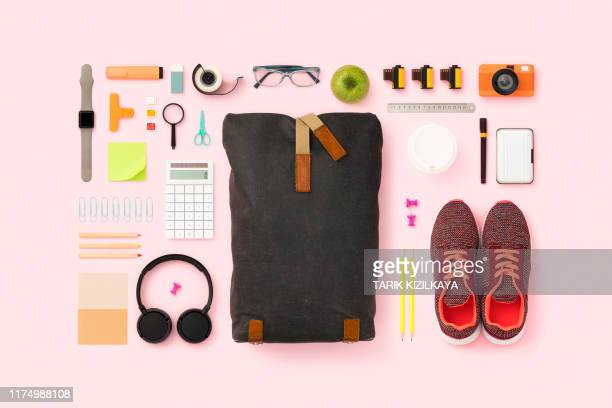 what's in my backpack flat lay - personal accessory stock pictures, royalty-free photos & images