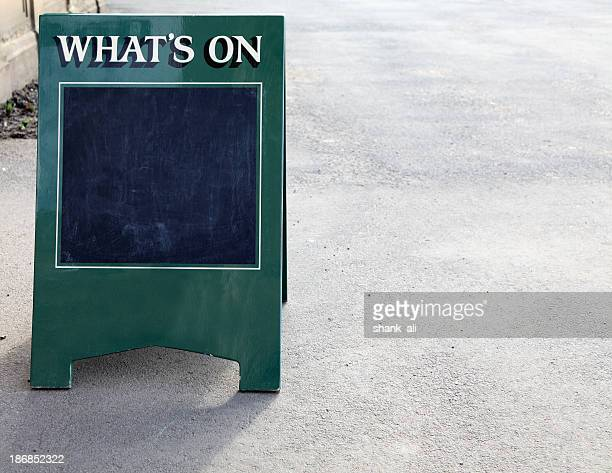 """What's on"" sandwich board"