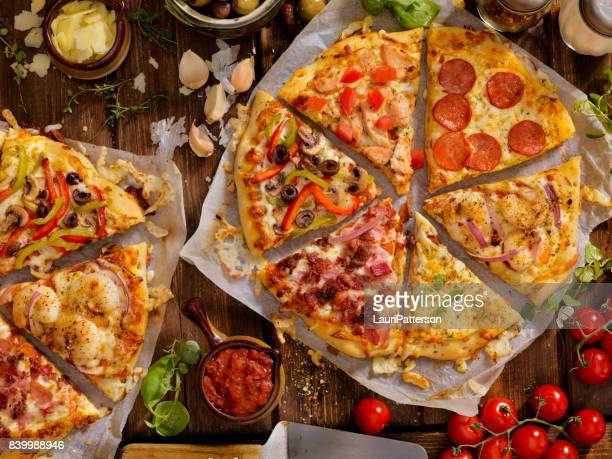 what's on your pizza? - buffet stock pictures, royalty-free photos & images