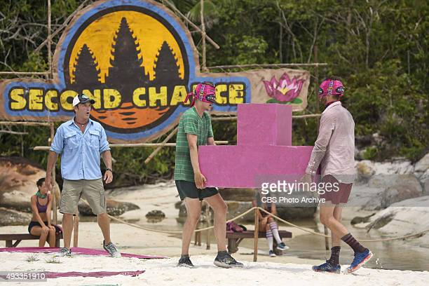 'What's the Beef' Jeff Probst watches Spencer Bledsoe and Stephen Fishbach compete for Immunity during the fourth episode of SURVIVOR Wednesday Oct...