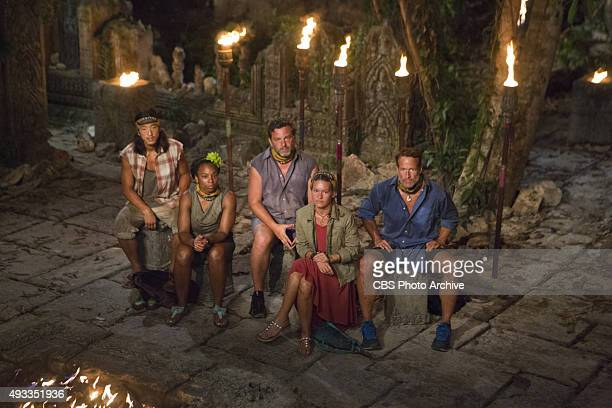 'What's the Beef' Woo Hwang Tasha Fox Jeff Varner AbiMaria Gomes and Andrew Savage at Tribal Council during the fourth episode of SURVIVOR Wednesday...