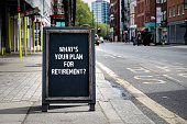 Whats your plan for retirement. Foldable advertising poster on the street