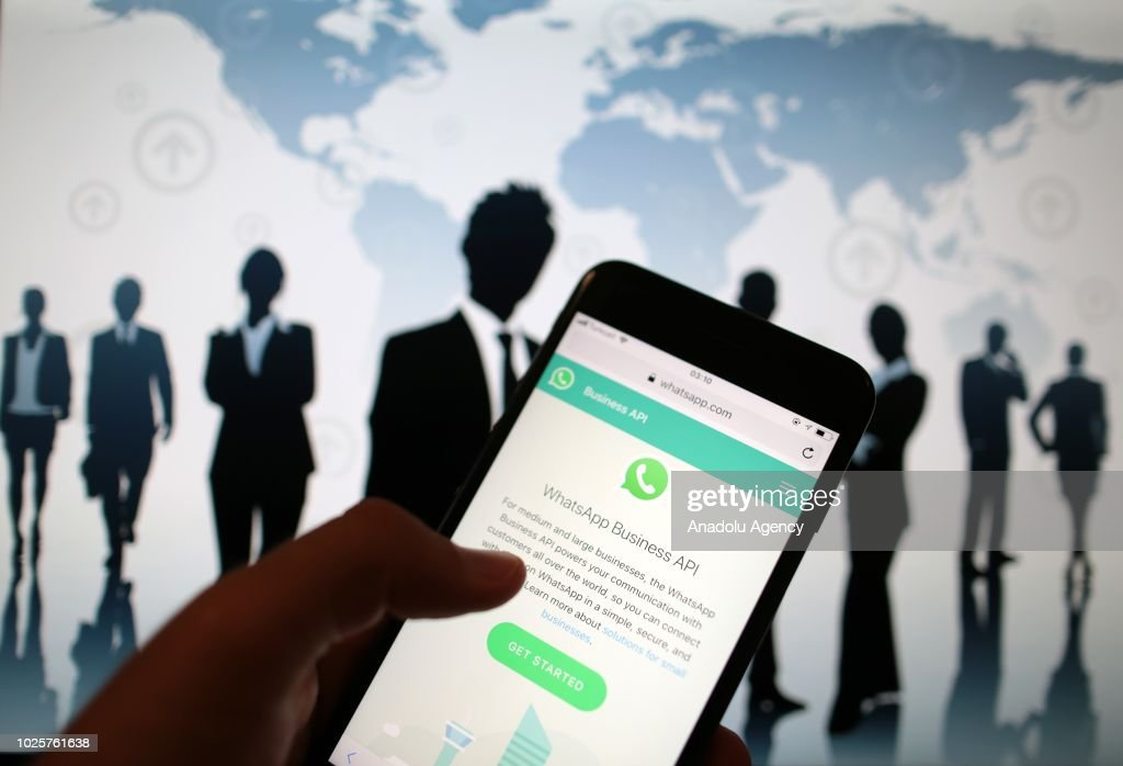 WhatsApp Business API application is seen on a screen of a