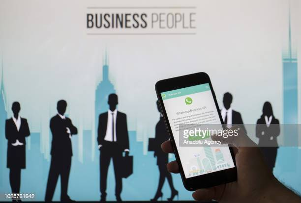 WhatsApp Business API application is seen on a screen of a smart phone in Ankara Turkey on September 1 2018