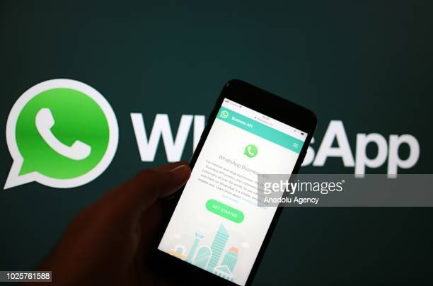 WhatsApp Business Application is seen on a screen of smart phone in Ankara Turkey on September 1 2018