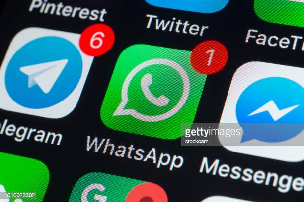 whatsapp, messenger, telegram and other phone chat apps on iphone screen - telegram stock pictures, royalty-free photos & images