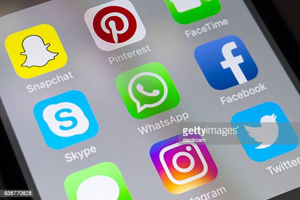 Whatsapp, Skype, Facebook and social media apps on cellphone