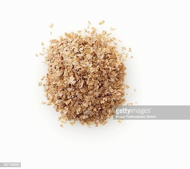 Wheat bran on white background