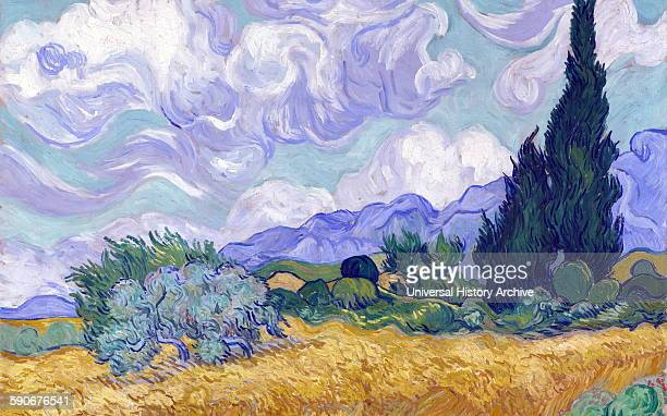 A Wheat Field with Cypresses by Vincent van Gogh PostImpressionist painter Dated 1889