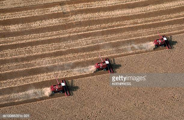 Wheat harvest being cut by red combines, aerial view