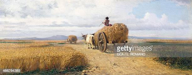 Wheatfield ca 1868 painting by Federico Rossano oil on canvas 30x73 cm