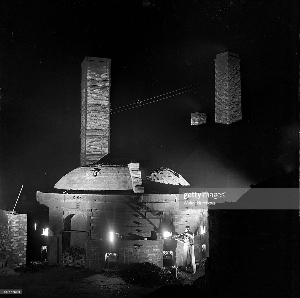 Worker Fires A Kiln Of Tiles At Night Wheatley Quarries 1952