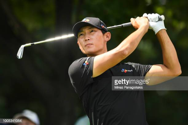 Whee Kim of Korea hits a tee shot from the seventh during the practice rounds at the RBC Canadian Open at Glen Abbey Golf Club on July 25 2018 in...