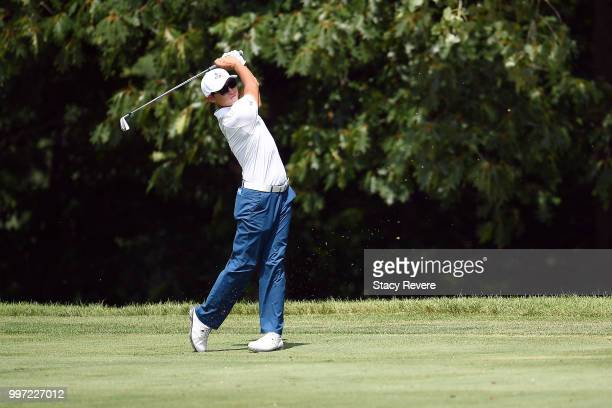Whee Kim of Korea hits his approach shot on the 15th hole during the first round of the John Deere Classic at TPC Deere Run on July 12 2018 in Silvis...
